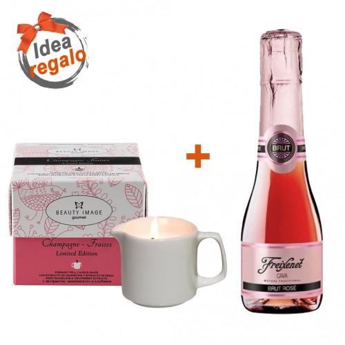 Pack Vela de masaje de FRESA + Cava Brut Rosé