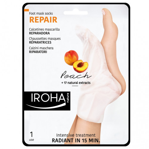 Iroha Nature - Calcetines trat. Intensivo PIES Y UÑAS Melocotón (2 ud - Monouso)