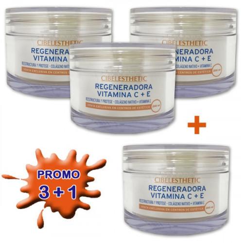 Cibelesthetic - Pack 3+1 - Crema Regeneradora vit. C+E - 200ml
